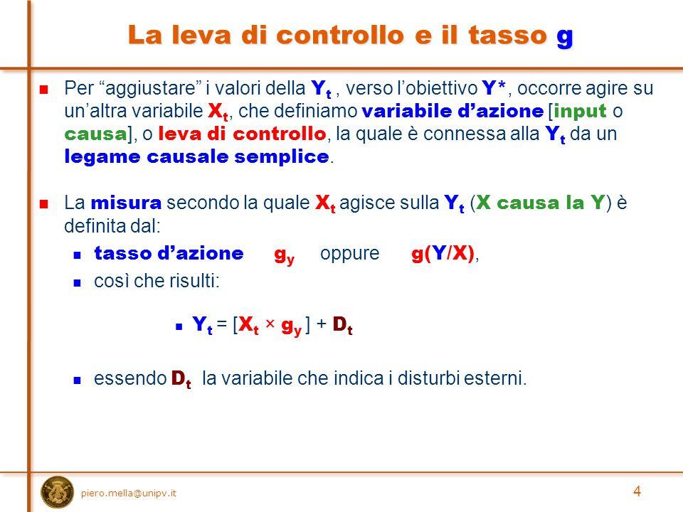 piero.mella@unipv.it 4 La leva di controllo e il tasso g Per aggiustare i valori della Y t, verso l'obiettivo Y*, occorre agire su un'altra variabile X t, che definiamo variabile d'azione [ input o causa ], o leva di controllo, la quale è connessa alla Y t da un legame causale semplice.