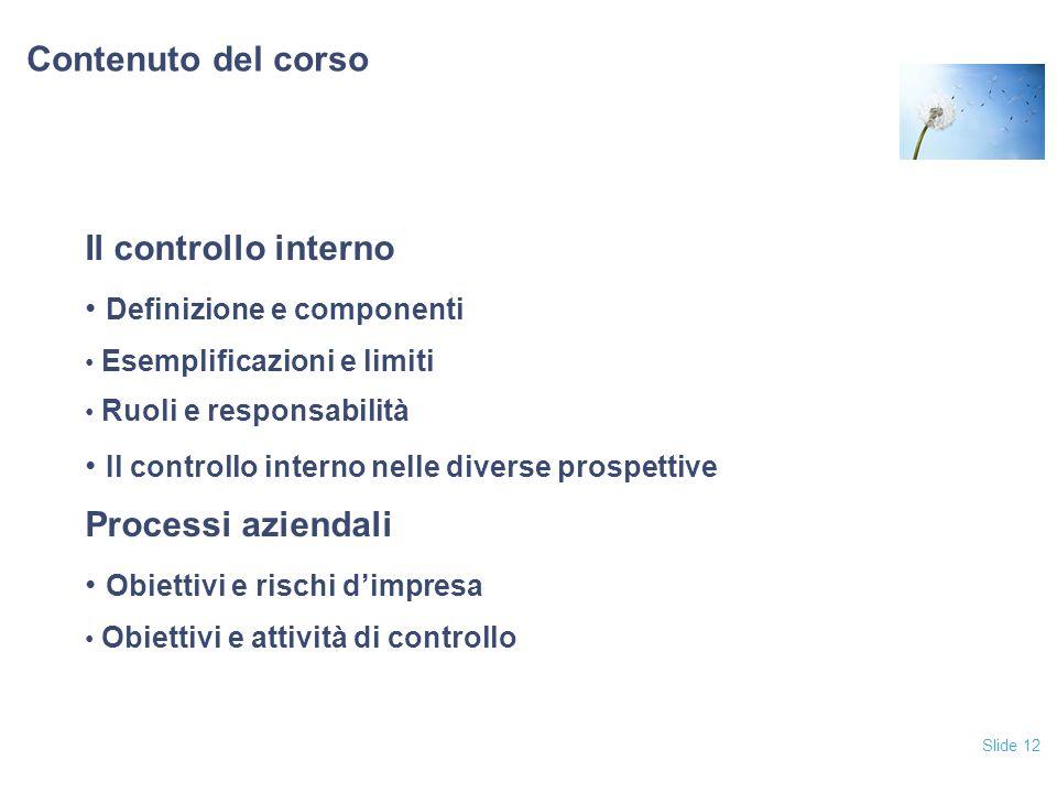 Slide 12 Contenuto del corso Il controllo interno Definizione e componenti Esemplificazioni e limiti Ruoli e responsabilità Il controllo interno nelle