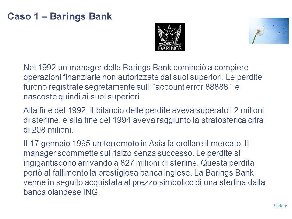 Slide 6 Caso 1 – Barings Bank Nel 1992 un manager della Barings Bank cominciò a compiere operazioni finanziarie non autorizzate dai suoi superiori. Le