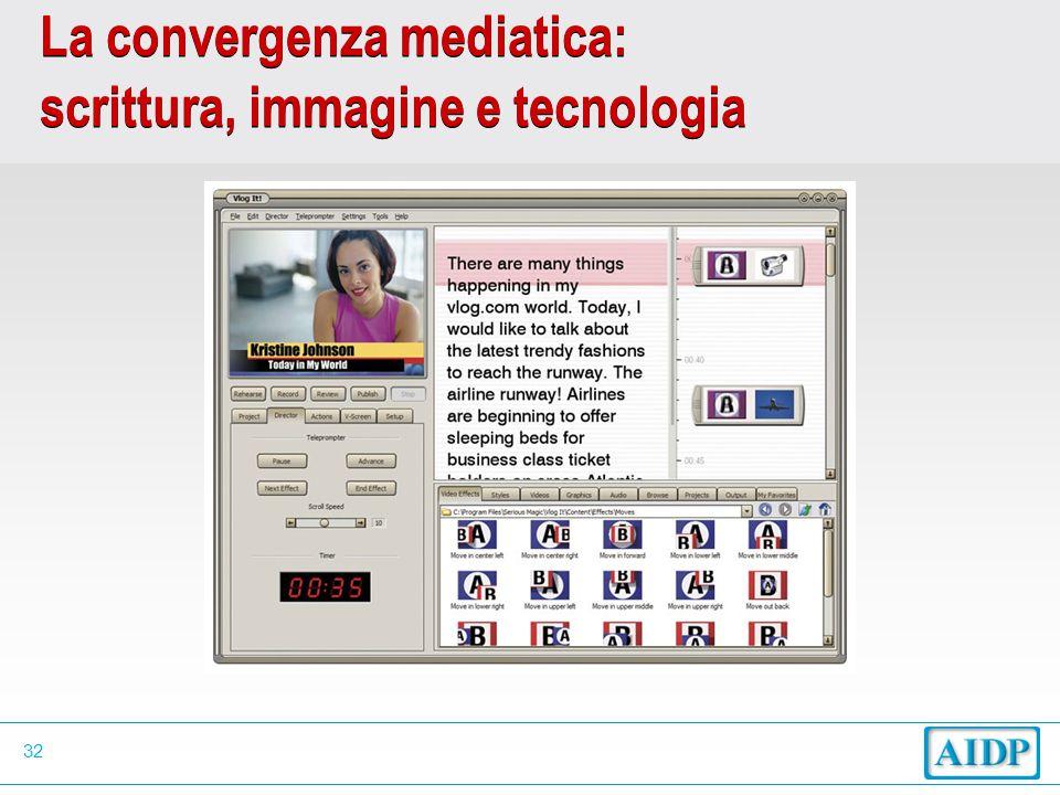 32 La convergenza mediatica: scrittura, immagine e tecnologia
