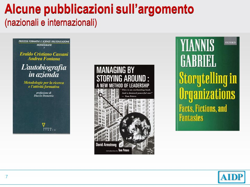 7 Alcune pubblicazioni sull'argomento (nazionali e internazionali)