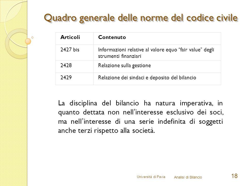 Università di Pavia Analisi di Bilancio 18 Quadro generale delle norme del codice civile ArticoliContenuto 2427 bisInformazioni relative al valore equ