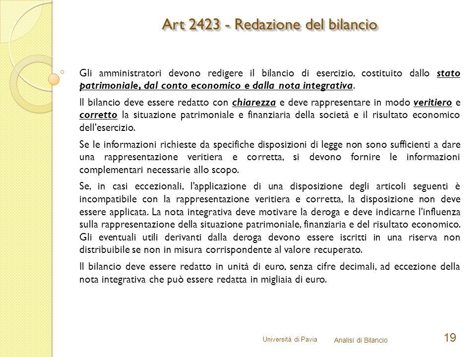 Università di Pavia Analisi di Bilancio 19 Gli amministratori devono redigere il bilancio di esercizio, costituito dallo stato patrimoniale, dal conto