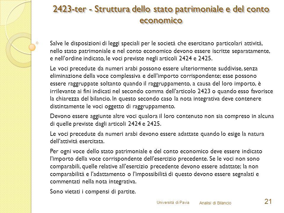 Università di Pavia Analisi di Bilancio 21 Salve le disposizioni di leggi speciali per le società che esercitano particolari attività, nello stato pat