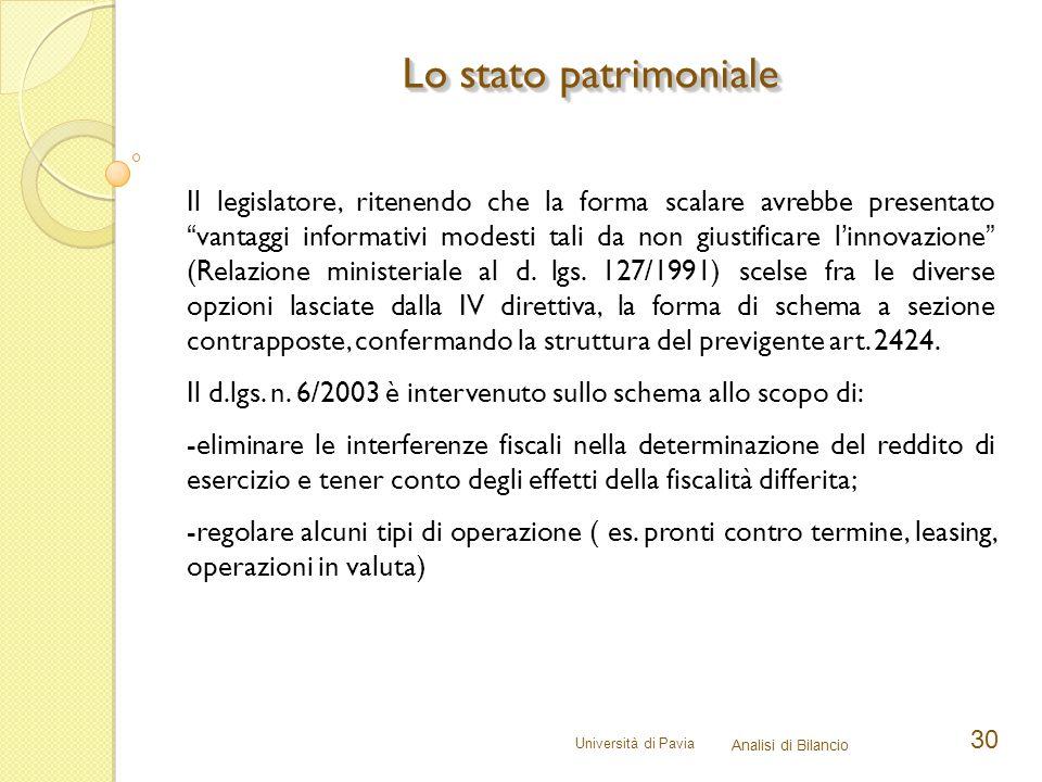 """Università di Pavia Analisi di Bilancio 30 Lo stato patrimoniale Il legislatore, ritenendo che la forma scalare avrebbe presentato """"vantaggi informati"""