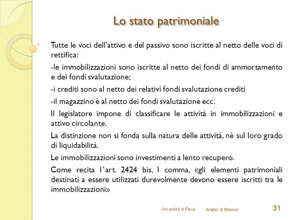 Università di Pavia Analisi di Bilancio 31 Tutte le voci dell'attivo e del passivo sono iscritte al netto delle voci di rettifica: -le immobilizzazion