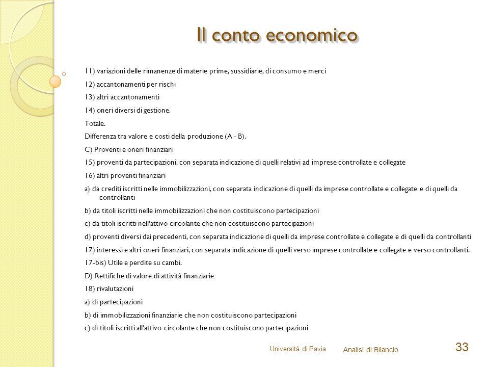 Università di Pavia Analisi di Bilancio 33 11) variazioni delle rimanenze di materie prime, sussidiarie, di consumo e merci 12) accantonamenti per ris