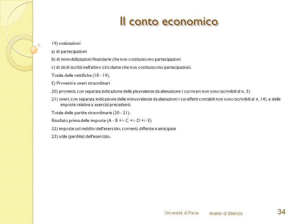 Università di Pavia Analisi di Bilancio 34 19) svalutazioni a) di partecipazioni b) di immobilizzazioni finanziarie che non costituiscono partecipazio