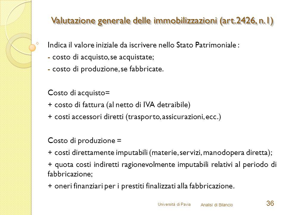 Università di Pavia Analisi di Bilancio 36 Indica il valore iniziale da iscrivere nello Stato Patrimoniale : - costo di acquisto, se acquistate; - cos