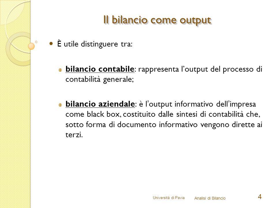 Università di Pavia Analisi di Bilancio 4 È utile distinguere tra:  bilancio contabile: rappresenta l'output del processo di contabilità generale; 
