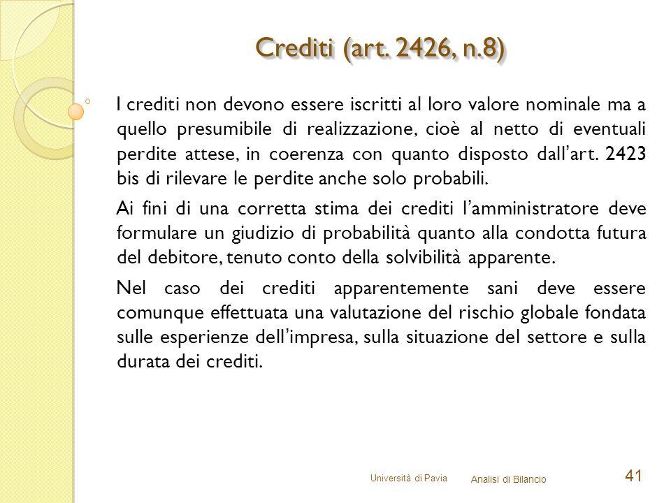 Università di Pavia Analisi di Bilancio 41 I crediti non devono essere iscritti al loro valore nominale ma a quello presumibile di realizzazione, cioè