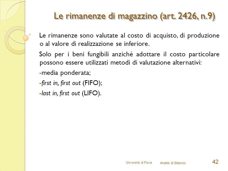 Università di Pavia Analisi di Bilancio 42 Le rimanenze sono valutate al costo di acquisto, di produzione o al valore di realizzazione se inferiore. S