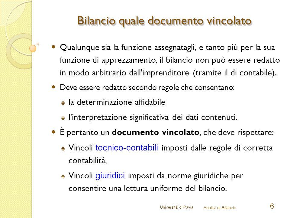 Università di Pavia Analisi di Bilancio 6 Qualunque sia la funzione assegnatagli, e tanto più per la sua funzione di apprezzamento, il bilancio non pu