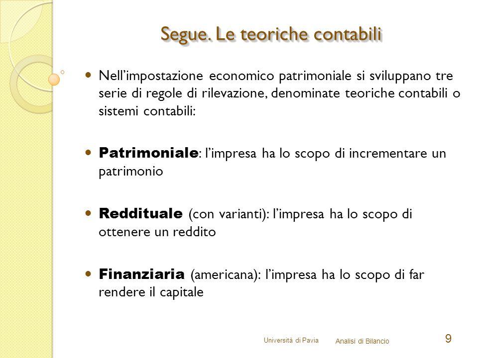 Università di Pavia Analisi di Bilancio 9 Nell'impostazione economico patrimoniale si sviluppano tre serie di regole di rilevazione, denominate teoric
