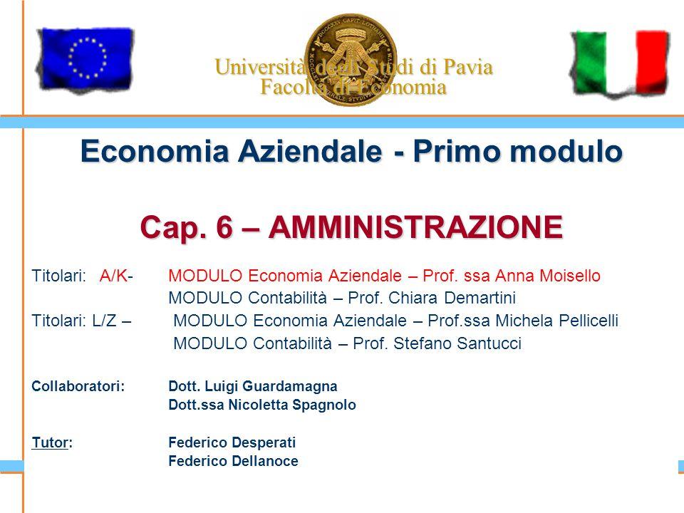 Università degli Studi di Pavia Facoltà di Economia Economia Aziendale - Primo modulo Cap. 6 – AMMINISTRAZIONE Titolari: A/K-MODULO Economia Aziendale