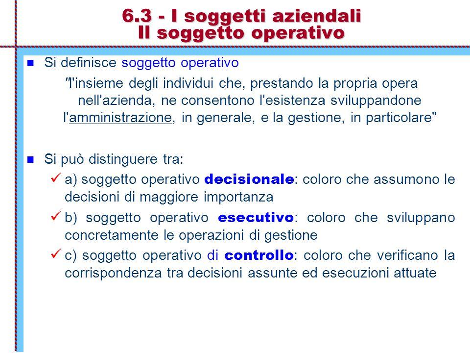 6.3 - I soggetti aziendali Il soggetto operativo Si definisce soggetto operativo