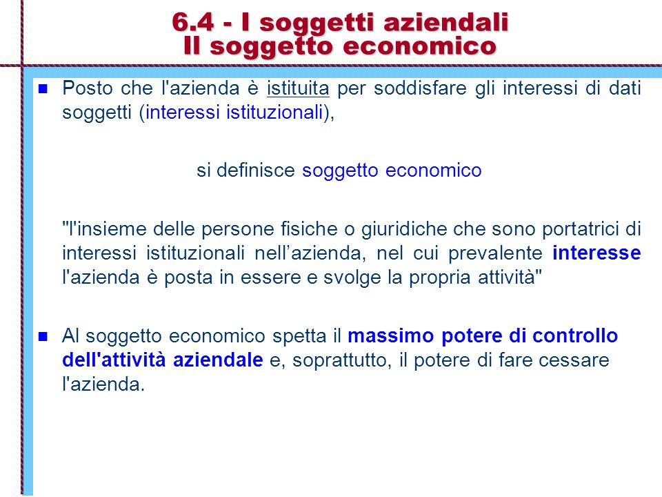6.4 - I soggetti aziendali Il soggetto economico Posto che l'azienda è istituita per soddisfare gli interessi di dati soggetti (interessi istituzional
