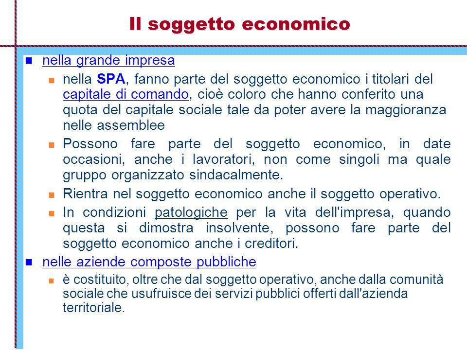 Il soggetto economico nella grande impresa nella SPA, fanno parte del soggetto economico i titolari del capitale di comando, cioè coloro che hanno con