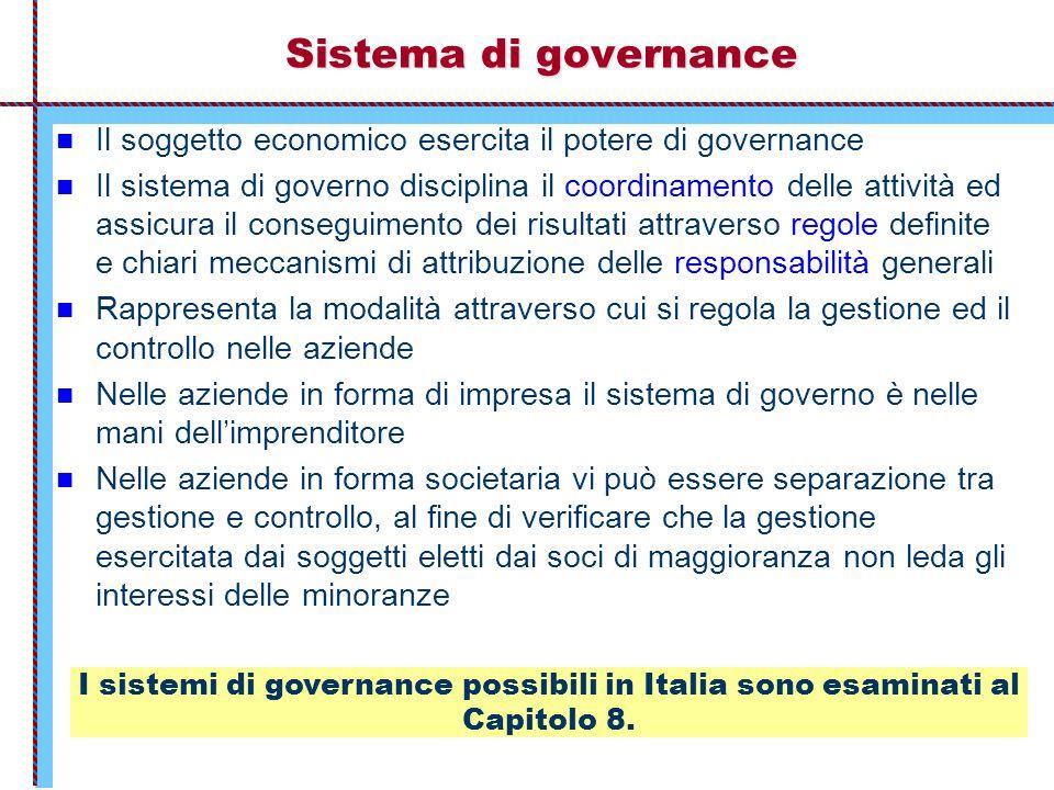 Sistema di governance Il soggetto economico esercita il potere di governance Il sistema di governo disciplina il coordinamento delle attività ed assic