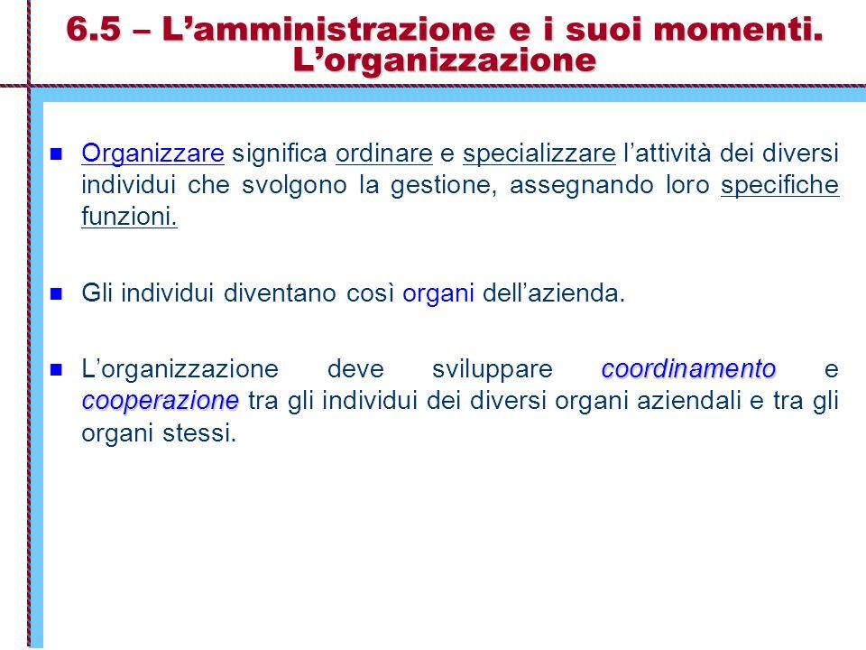 6.5 – L'amministrazione e i suoi momenti. L'organizzazione Organizzare significa ordinare e specializzare l'attività dei diversi individui che svolgon
