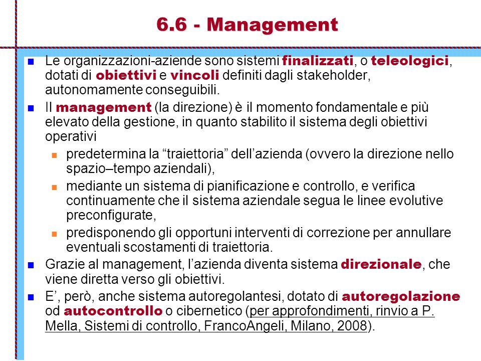 6.6 - Management Le organizzazioni-aziende sono sistemi finalizzati, o teleologici, dotati di obiettivi e vincoli definiti dagli stakeholder, autonoma