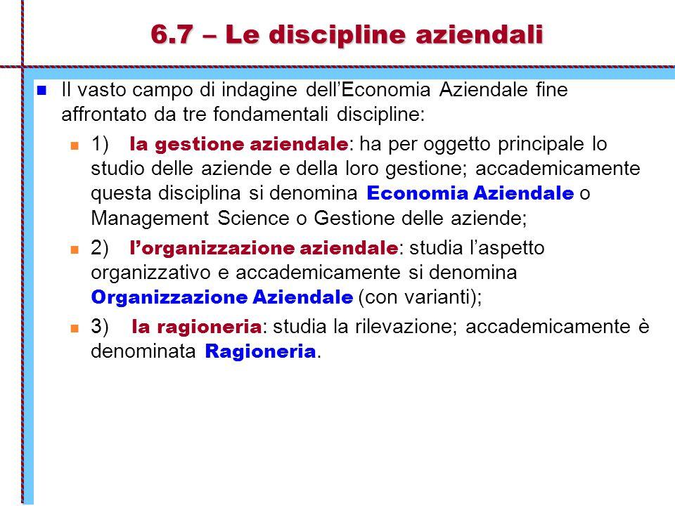 6.7 – Le discipline aziendali Il vasto campo di indagine dell'Economia Aziendale fine affrontato da tre fondamentali discipline: 1) la gestione aziend