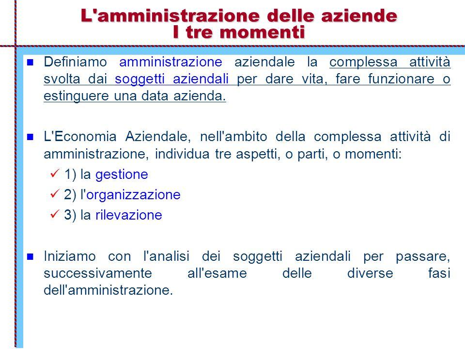 L'amministrazione delle aziende I tre momenti Definiamo amministrazione aziendale la complessa attività svolta dai soggetti aziendali per dare vita, f