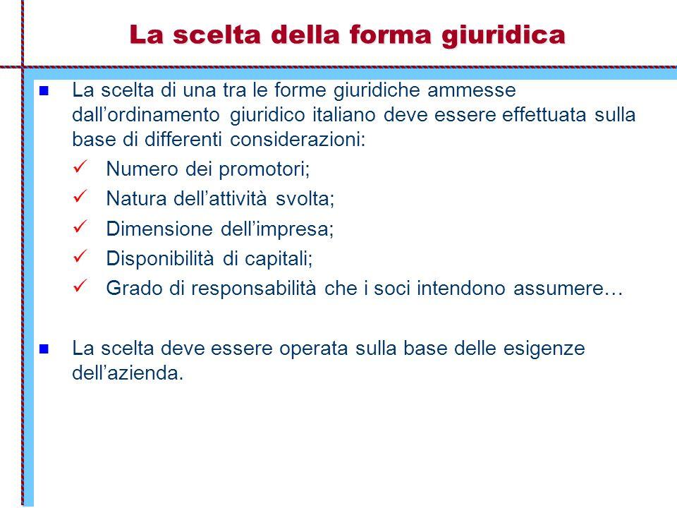La scelta della forma giuridica La scelta di una tra le forme giuridiche ammesse dall'ordinamento giuridico italiano deve essere effettuata sulla base