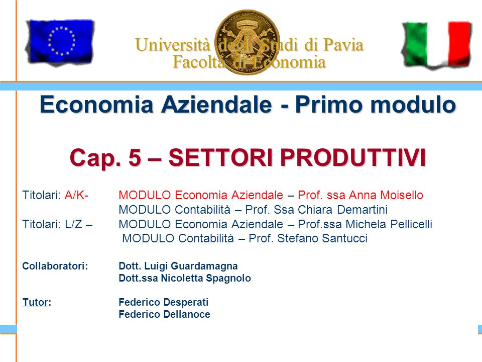 Università degli Studi di Pavia Facoltà di Economia Economia Aziendale - Primo modulo Cap. 5 – SETTORI PRODUTTIVI Titolari: A/K-MODULO Economia Aziend