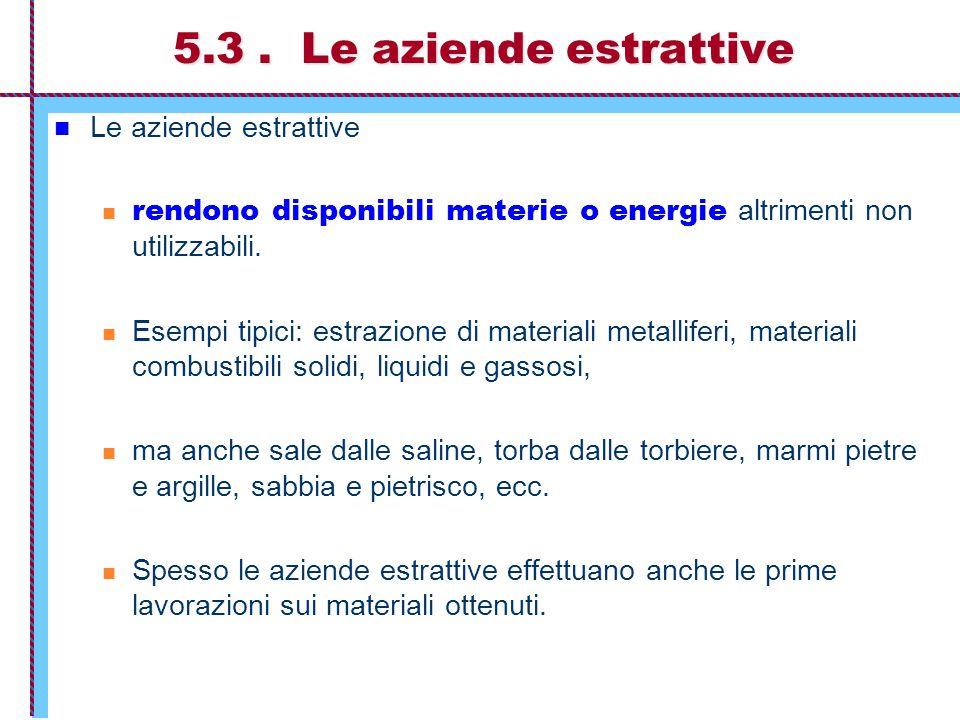 5.3. Le aziende estrattive Le aziende estrattive rendono disponibili materie o energie altrimenti non utilizzabili. Esempi tipici: estrazione di mater