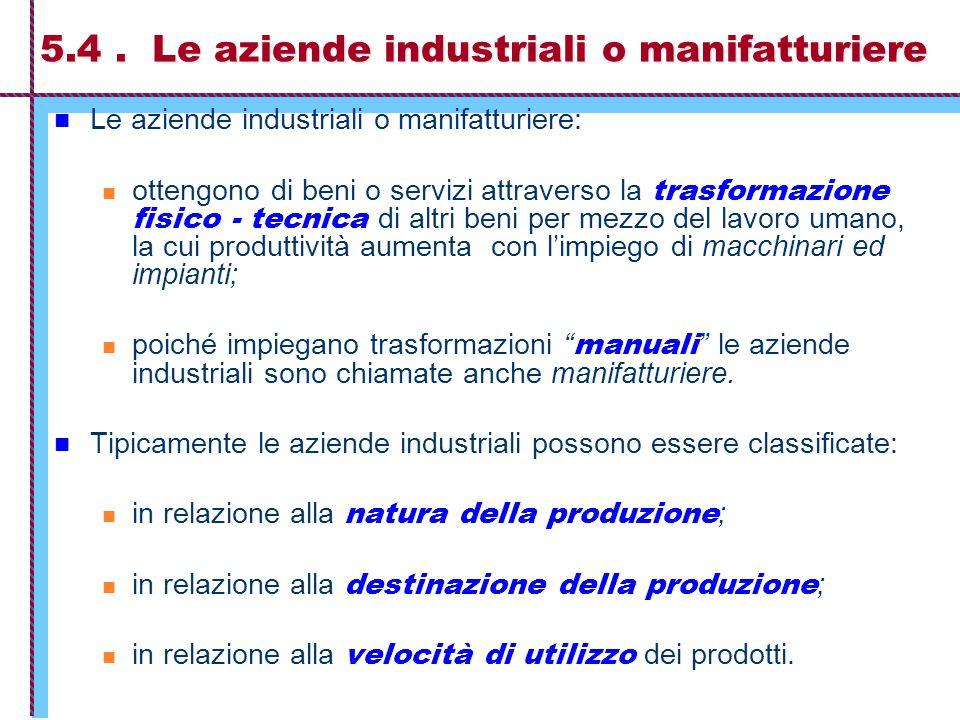 5.4. Le aziende industriali o manifatturiere Le aziende industriali o manifatturiere: ottengono di beni o servizi attraverso la trasformazione fisico