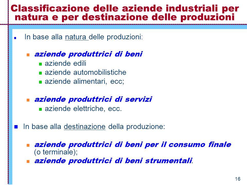 16 Classificazione delle aziende industriali per natura e per destinazione delle produzioni In base alla natura delle produzioni : aziende produttrici