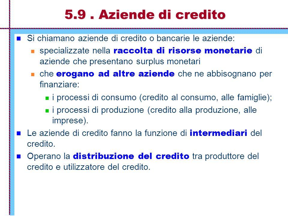5.9. Aziende di credito Si chiamano aziende di credito o bancarie le aziende: specializzate nella raccolta di risorse monetarie di aziende che present