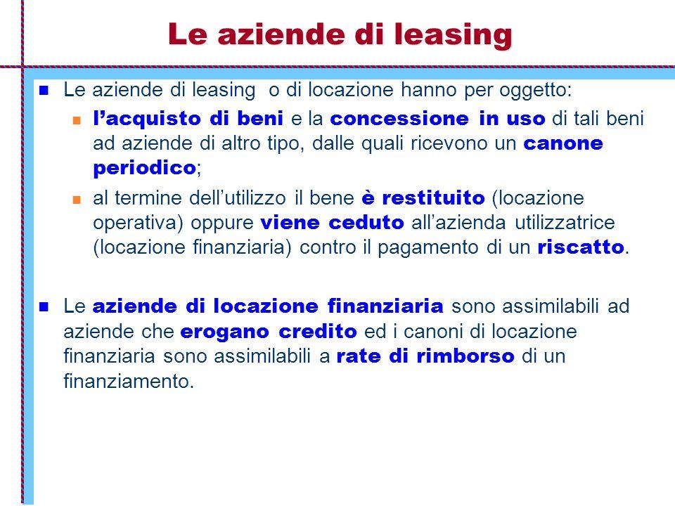 Le aziende di leasing Le aziende di leasing o di locazione hanno per oggetto: l'acquisto di beni e la concessione in uso di tali beni ad aziende di al