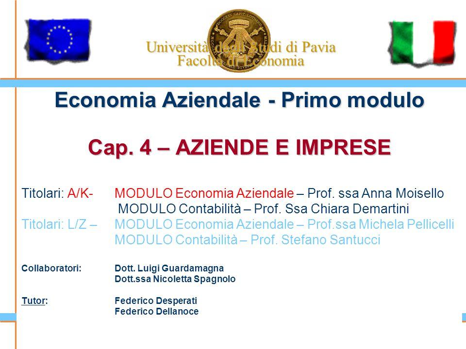 Università degli Studi di Pavia Facoltà di Economia Economia Aziendale - Primo modulo Cap. 4 – AZIENDE E IMPRESE Titolari: A/K-MODULO Economia Azienda