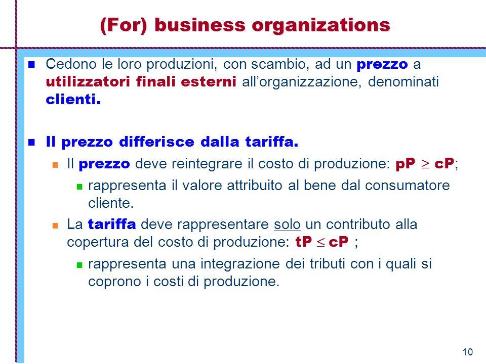10 (For) business organizations Cedono le loro produzioni, con scambio, ad un prezzo a utilizzatori finali esterni all'organizzazione, denominati clienti.