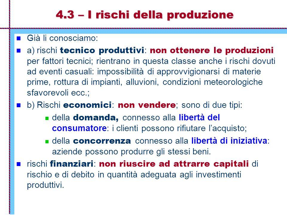 4.3 – I rischi della produzione Già li conosciamo: a) rischi tecnico produttivi : non ottenere le produzioni per fattori tecnici; rientrano in questa