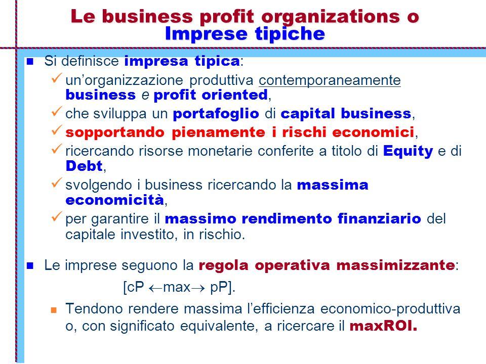 Le business profit organizations o Imprese tipiche Si definisce impresa tipica : un'organizzazione produttiva contemporaneamente business e profit ori