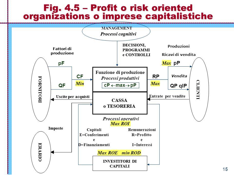 Economia Aziendale – Istituzioni 15 Fig. 4.5 – Profit o risk oriented organizations o imprese capitalistiche INVESTITORI DI CAPITALI CASSA o TESORERIA