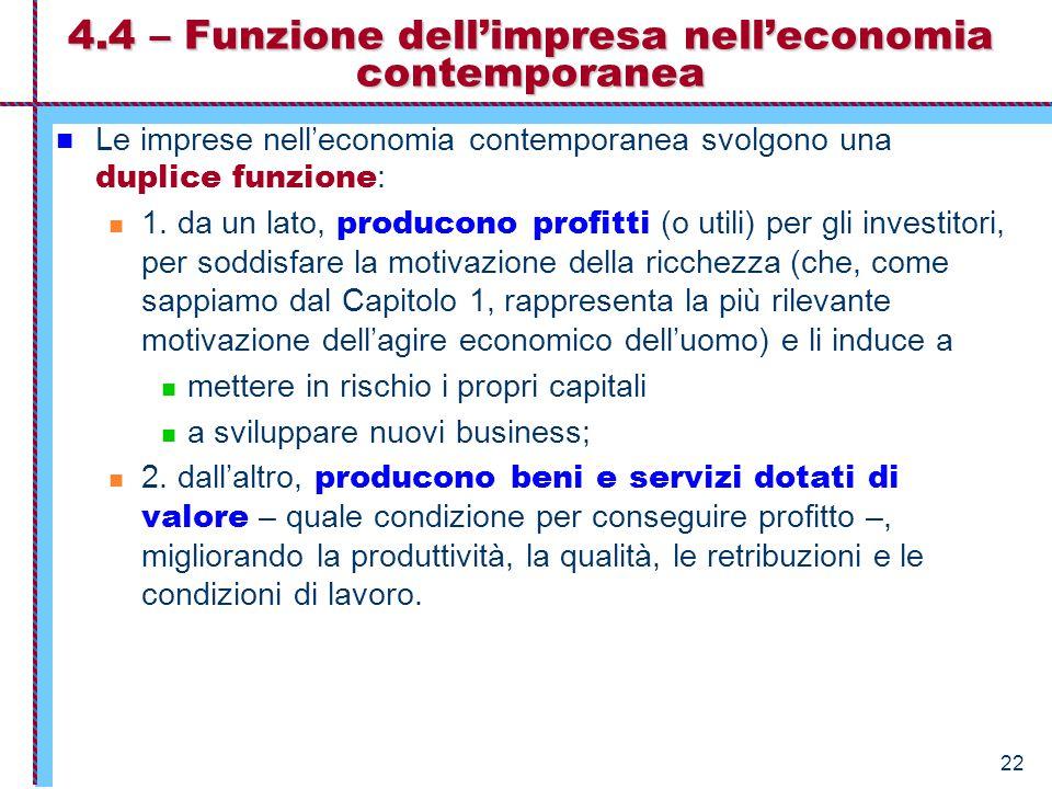 22 4.4 – Funzione dell'impresa nell'economia contemporanea Le imprese nell'economia contemporanea svolgono una duplice funzione : 1. da un lato, produ