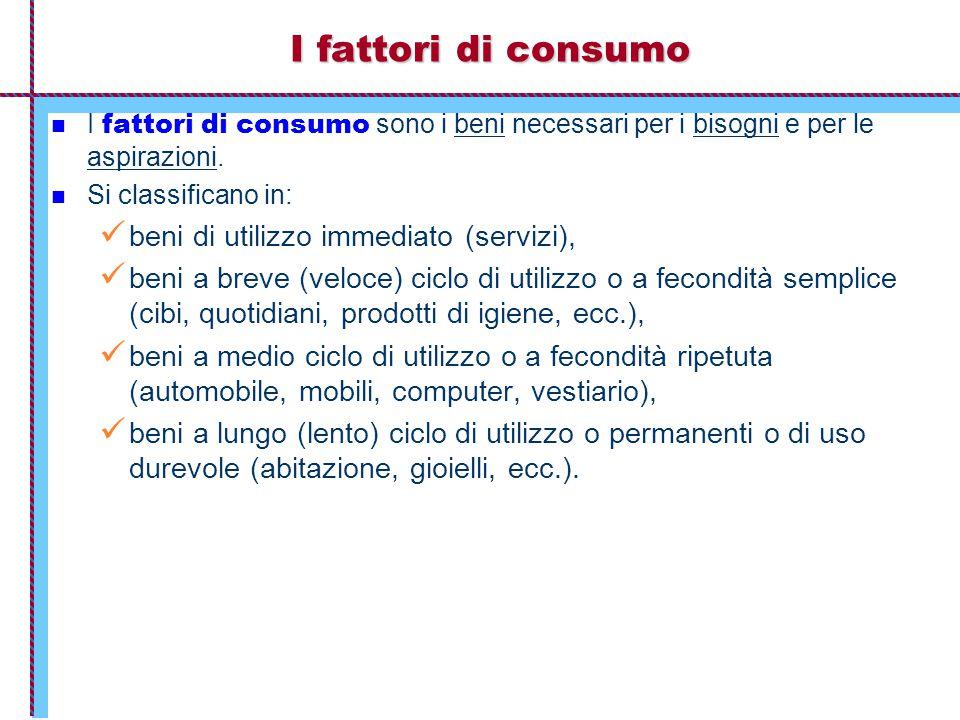 I fattori di consumo I fattori di consumo I fattori di consumo sono i beni necessari per i bisogni e per le aspirazioni. Si classificano in: beni di u