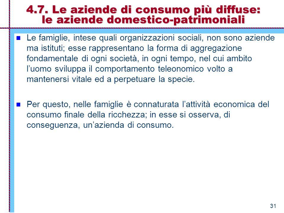 31 4.7. Le aziende di consumo più diffuse: le aziende domestico-patrimoniali Le famiglie, intese quali organizzazioni sociali, non sono aziende ma ist