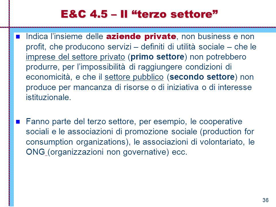 36 E&C 4.5 – Il terzo settore Indica l'insieme delle aziende private, non business e non profit, che producono servizi – definiti di utilità sociale – che le imprese del settore privato (primo settore) non potrebbero produrre, per l'impossibilità di raggiungere condizioni di economicità, e che il settore pubblico (secondo settore) non produce per mancanza di risorse o di iniziativa o di interesse istituzionale.