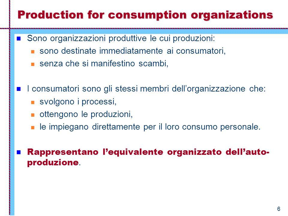 6 Production for consumption organizations Sono organizzazioni produttive le cui produzioni: sono destinate immediatamente ai consumatori, senza che si manifestino scambi, I consumatori sono gli stessi membri dell'organizzazione che: svolgono i processi, ottengono le produzioni, le impiegano direttamente per il loro consumo personale.
