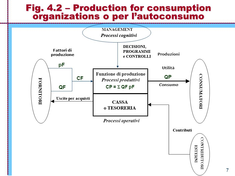 7 Fig. 4.2 – Production for consumption organizations o per l'autoconsumo CASSA o TESORERIA FORNITORI Uscite per acquisti DECISIONI, PROGRAMMI e CONTR