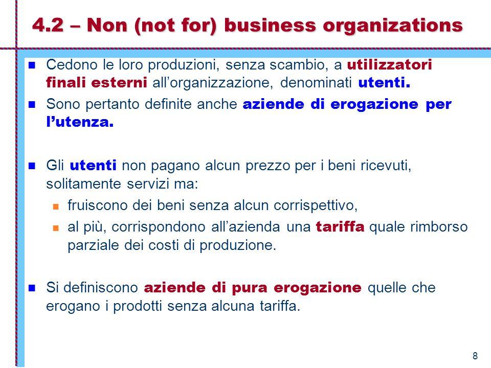 8 4.2 – Non (not for) business organizations Cedono le loro produzioni, senza scambio, a utilizzatori finali esterni all'organizzazione, denominati utenti.