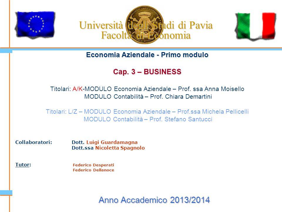 Università degli Studi di Pavia Facoltà di Economia Economia Aziendale - Primo modulo Cap. 3 – BUSINESS Titolari: A/K-MODULO Economia Aziendale – Prof