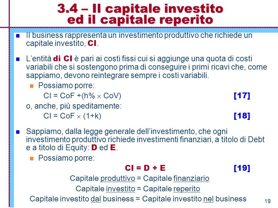 19 3.4 – Il capitale investito ed il capitale reperito Il business rappresenta un investimento produttivo che richiede un capitale investito, CI. L'en