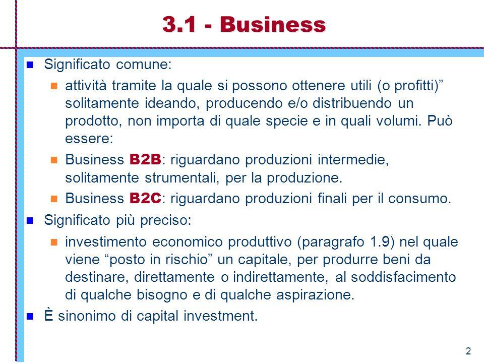 """2 3.1 - Business Significato comune: attività tramite la quale si possono ottenere utili (o profitti)"""" solitamente ideando, producendo e/o distribuend"""