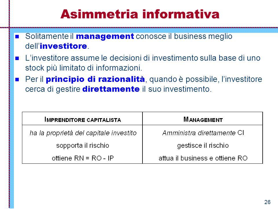 26 Solitamente il management conosce il business meglio dell' investitore. L'investitore assume le decisioni di investimento sulla base di uno stock p